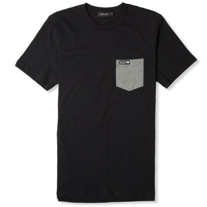 Senlak Pocket T-Shirt - Black with White Dragon of the English branding